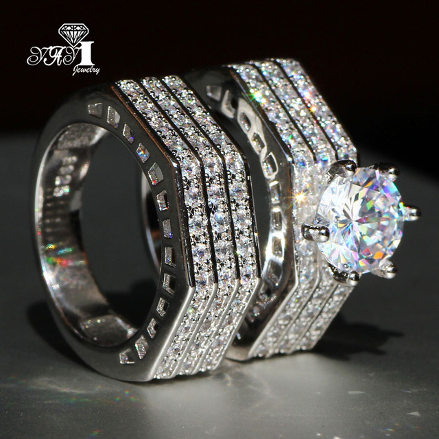 2 pcs YaYI Jewelry Fashion  Princess Cut  4.7 CT White Zircon Silver Color Engagement  Set Rings wedding Rings Party Rings