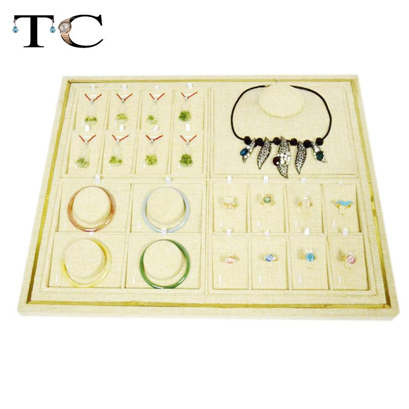 Wholesale Beige Linen Jewelry Display 40*50cm Tray Organizer Show Case Necklace Stand Ring Jewelry Display Holder Free EMS newest 40 50cm high grade linen rings display tray jewelry stand organizer ring holder show case