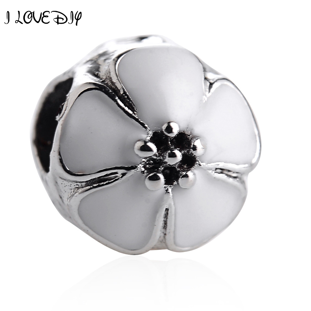 Beautiful Wholesale 5pcs European Charm Beads Tibetan Silver Plated Metal Enamel Flower Charms For Jewelry Making Bracelets Fast Shipping Beads Beads & Jewelry Making