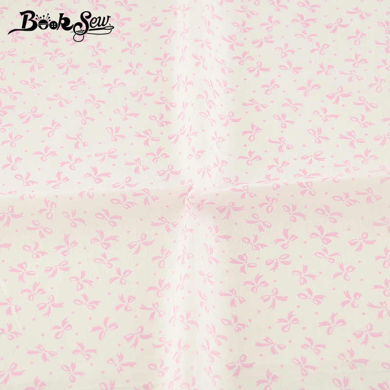 Booksew Pink Bow Design Cotton Fabric Sewing Cloth Tissue DIY Dolls Telas White Quilting Plain Patchwork Textile Scrapbooking