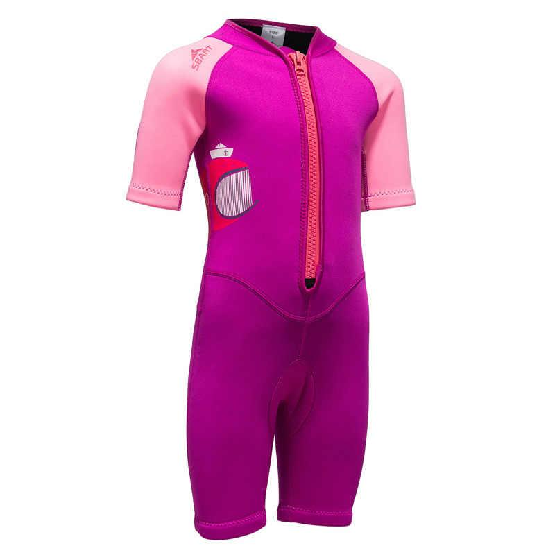 Çocuklar Gençlik Wetsuits Neopren 2mm Shorty Wetsuit Kızlar Pembe Mayo Bahar Sonbahar Kış Yüzmek Sörf Şnorkel Takım Elbise Ön Zip