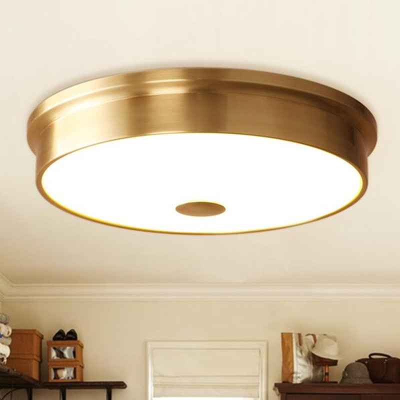 lamparas de techo American Hanglamp for Bedroom Simple Copper Glass Ceiling Lamp Aisle Balcony Round Hanging