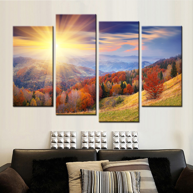 4 Panels No Frame Drop Shipping Home Decor Poster Mountain Trees Sunshine  Landscape Canvas Wall Art