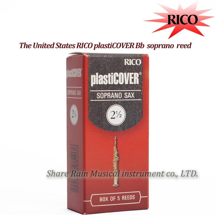 RICO Plasticover Bb Soprano Sax Reed 2.5#, 3.0#,3.5# Box Of 5 Soprano Saxphone Reed