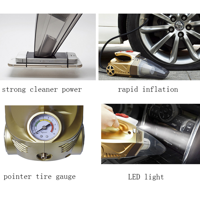 multi function portable car vacuum cleaner wet pressure pneumatic lighting tire dry super suction air compressor inflatable pump DC12V Wet Dry Portable 4 In 1 Multi-Function Car Vacuum Cleaner Hepa Filter Tire Inflator Tire Pressure Gauge Monitor LED Light