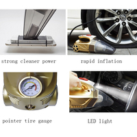 DC12V Wet Dry Portable 4 In 1 Multi Function Car Vacuum Cleaner Hepa Filter Tire Inflator Tire Pressure Gauge Monitor LED Light
