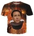 Nova Nicolas Cage Queque galaxy Impressão 3d t shirt engraçado estilo do verão t camisa dos homens/mulheres camisa masculina plus size tamanho S-XXL