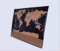 Travel World Flag Scratch Map Gold Foil Black Scratch Map Wipe Foil Coating World Flag Map