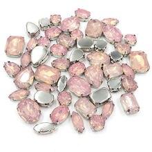 Новое поступление 50 шт розовая Опаловая смола пришивные стразы