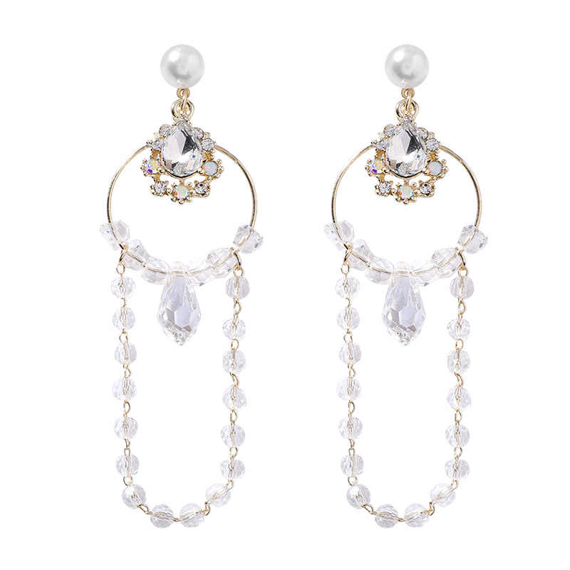 2019 New Arrival  Crystal Trendy  Women Dangle Earrings Fashion Pearl Water Drop Crystal Korean Women Long  Female Jewelry