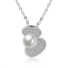 Fashion 925 Sterling Silver Necklace Fine Jewelry Collier Lovely and Shell Pearl Pendant Necklace Women Sterling-Silver-Jewelry