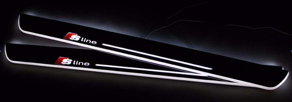 eOsuns LED moving door scuff door sill light for audi A3/S3 A5 A1 A5/S5/RS5 A6L C7 A7/S7/RS7 Q5 Q3 Q7, Sline logo, 4 pieces доска для объявлений dz j1a 169 led led jndx 1 s a