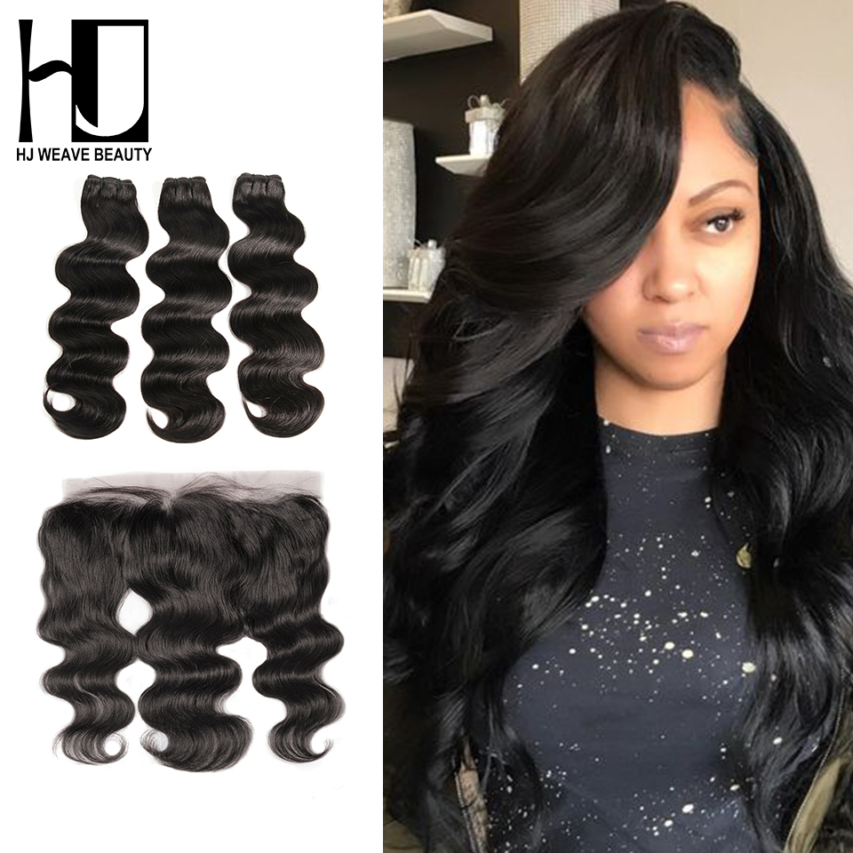 HJ WEAVE BEAUTY Body Wave Raw Indian Virgin Hair Bundles With Frontal Hair Weave Bundles With