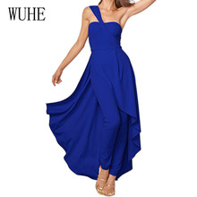 WUHE New Slanted Shoulder Wrapped Chest Trousers Big Swing One Dinner Wedding Fashion Light Dress Vestidos De Festa