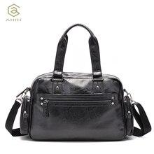 AHRI Men Solid PU Leather Shoulder Men's Casual Tote Bag Brown Vintage Business Top handle Bag Fashion For Men Handbag Luxury