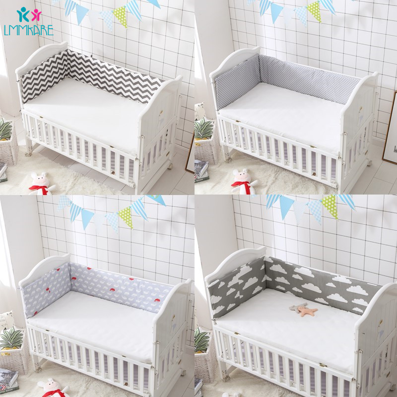 1 Pcs Grau Welle Dot Baumwolle Baby Bett Krippe Stoßstangen Für Neugeborenen Leinen Bett Pad Baby Bett Protector Druck Baby Produkte