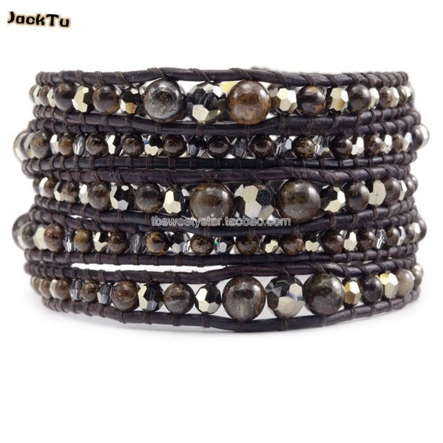 2017 fashion bronzite mixed crystal style women and mens leather wrap bracelet