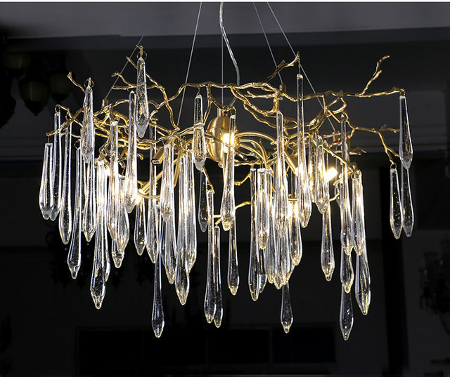 Phube Lighting Large Artistic Branches Chandeliers Coloured Glaze Chandelier Light Hotel Copper