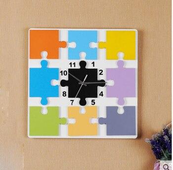 "16"" Children Digital Wooden Cartoon Wall Clock Decorative Kids Room Hanging Watch Clock"