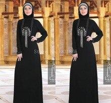 Vestido De Festa 2016 New Fashion Islamic Clothing for Women Moroccan Kaftan Dress Black Dubai Abaya Mother Of The Bride Dress