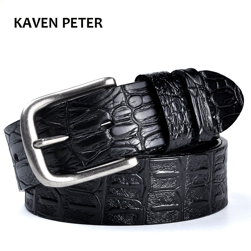 Men's Cowskin Belt Crocodile Pattern Luxury Designer Belts Men High Quality 100% Genuine Leather Ancient Silver Metal Buckle