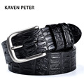 Men's Cowskin Belt Crocodile Pattern Luxury Designer Belts Men High Quality 100% Genuine Leather Ancient Silver Metal Buckle