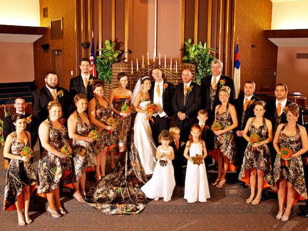 Halter Mossy Oak Camo Bridesmaid Dresses Hi Lo Camouflage Wedding Party Dress Short 2017 Custom Make Free Shipping In From Weddings