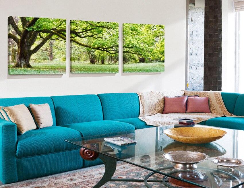 4 panele Oprawione zielone drzewo Malarstwo Nowości Druk Obrazy - Wystrój domu - Zdjęcie 2