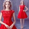 2016 Novo Soiree Sexy Lace Red Mulheres Vestidos de Noite Curto cap-manga Vestido Da Senhora do Baile Banquete Festa vestido de Baile Vestido Com Zíper