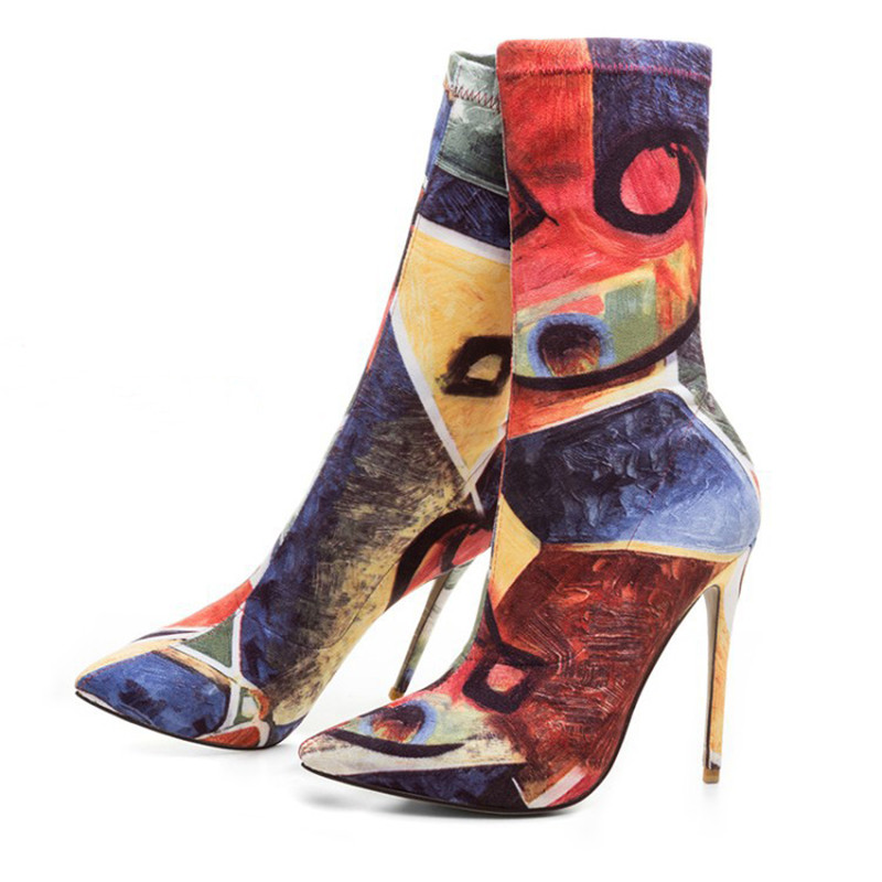 2018 New Runway Paints Graffiti Stretch Sock Boots Women High Heels Sexy Pointed Toe Ankle Boots Party Shoes Woman Zapatos Mujer2018 New Runway Paints Graffiti Stretch Sock Boots Women High Heels Sexy Pointed Toe Ankle Boots Party Shoes Woman Zapatos Mujer