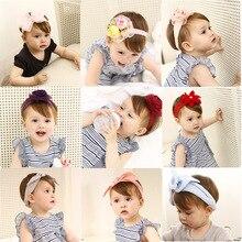 New little Girls lace elastic turban flower headbands yarn crown rabbit ears children hairband Multispecies kids hair accessory