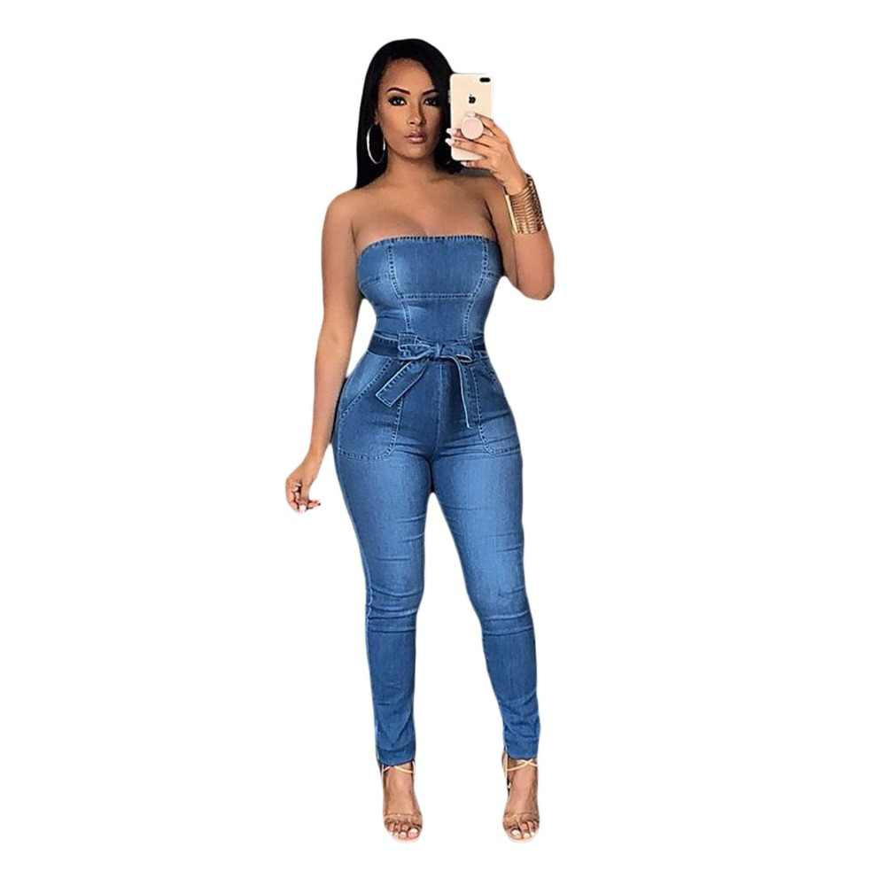 6358b1f9811a Women Denim Jumpsuit summer 2018 blue Strapless Bow sexy Bodycon long  Romper ladies off shoulder backless