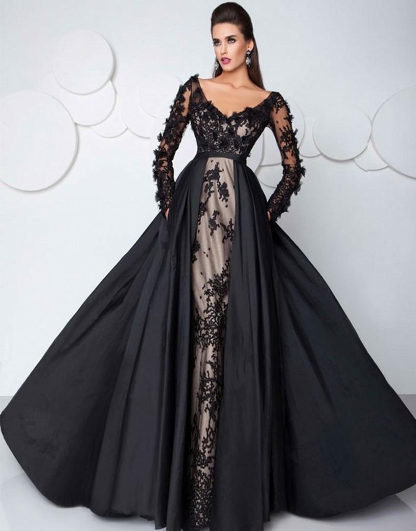 Black Long Sleeve Formal Evening Dresses