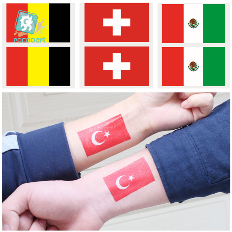 2019 National Holiday Country Flags Of Belgium Mexico Switzerland Turkey Tattoo Sticker Flag Face Temporary Tattoo
