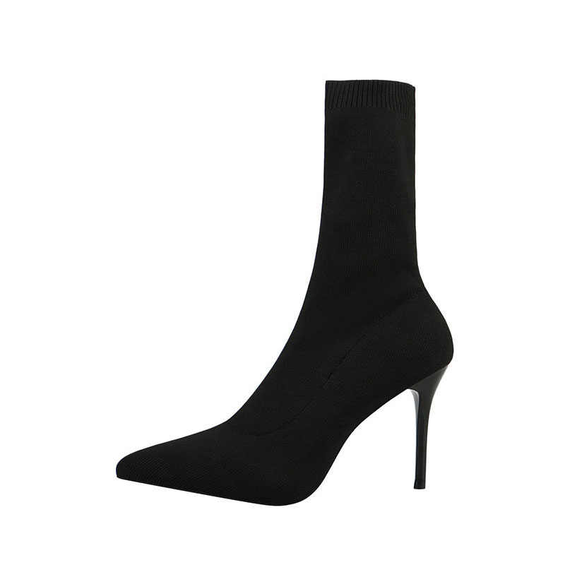 SEGGNICE Sexy Sok Laarzen Breien Stretch Laarzen Hoge Hakken Voor Vrouwen Mode Schoenen 2019 Lente Herfst Enkellaarsjes Laarsjes Vrouwelijke