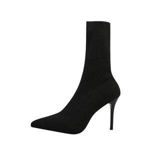 Image 3 - SEGGNICE Sexy Sok Laarzen Breien Stretch Laarzen Hoge Hakken Voor Vrouwen Mode Schoenen 2020 Lente Herfst Enkellaarsjes Laarsjes Vrouwelijke