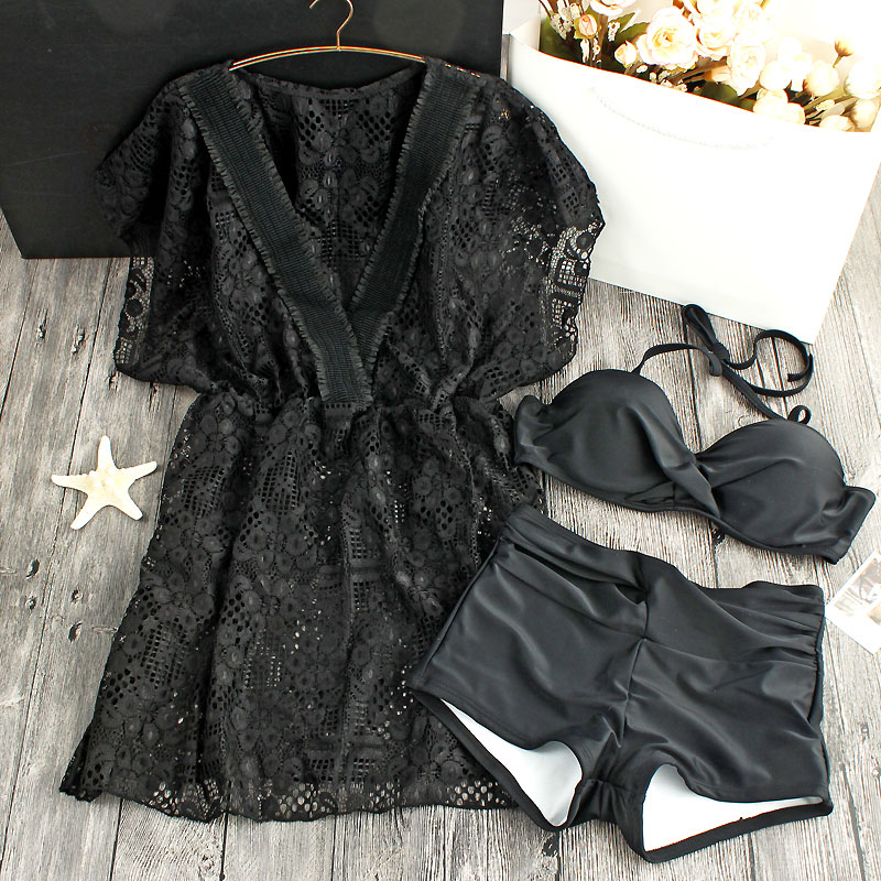 2018 Hot Sale Female Swimsuit Sexy Lace New South Korean Exports Of Steel Supporting Gather Boxer Split Bikinis
