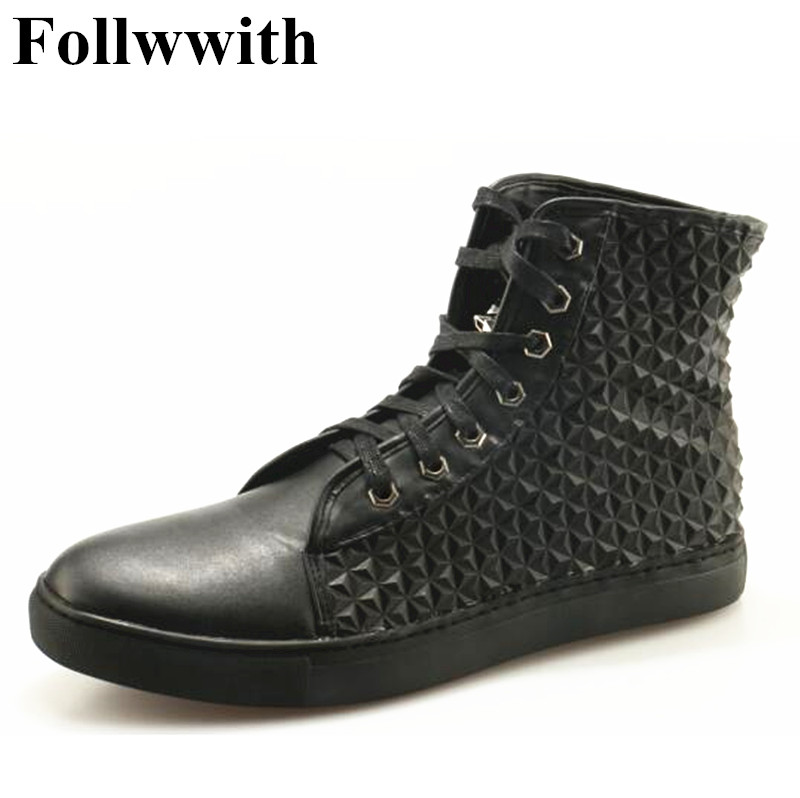 2018 Hot Sales High Top Black Diamond Bricks Height Increasing High Quality Lace-Up Casual Mens Fashion Men Shoes blaibilton 2017 high top quality pu men shoes fashion personality letter platform mens shoes casual designer black blue sd6115