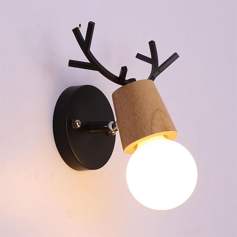 Creative Elk Wall Lamp Bedroom Hallway Bedside Wall Light Log Solid Wood Antler Christmas Decorative Luminarias De Interior DA
