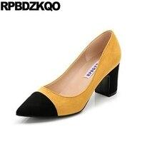 807d8ed556a Zapatos de tacón alto para mujer 3 pulgadas 10 42 chic talla 4 34 33 zapatos  amarillos 2018 grandes multicolor gamuza puntiaguda.