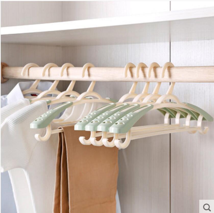 10pcs/lot 39.5cm adult plastic retractable clothes rack without trace anti-slip multi-functional hanger