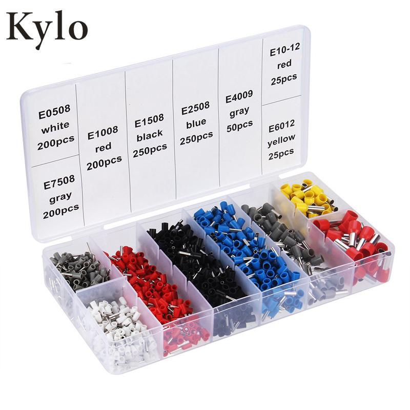 1200PCS/800PCS Tube insulating Insulated terminals Cable Wire Connector Crimp Terminal Set Kit VE cold-pressed European terminal
