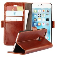 Mobile Phone Bags Cases For IPhone 6S Plus 6 7 Genuine Leather Wallet Cover Coque Capinha