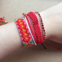 4pcs Bracelet Set Handmade Red String Weave Friendship Bracelets Crystal Multi Layers Bohemian Summer Surf Jewelry