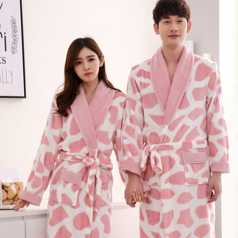 Detail Feedback Questions about Lovers Flannel Kimono Bathrobes Thick Warm  Coral Fleece Robes For Men Women Autumn Winter Couple Thicken Long Sleeve  ... 61515e5b3