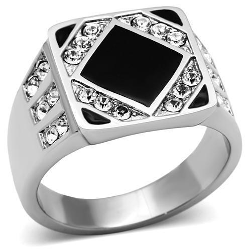 High Polish Stainless Steel With Rhinestone Wedding Rings Black Epoxy Square big Men Rings No Plating Free Shipping