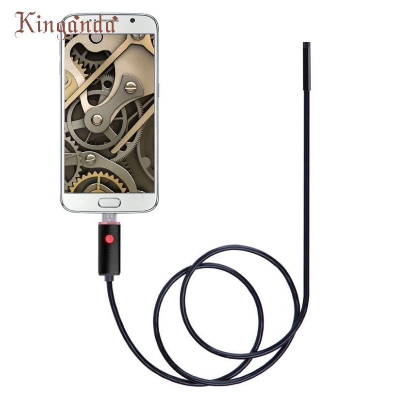 Ecosin2 Black 2in1 USB Endoscope Inspection 7mm Camera 6 LED Light HD IP67 Waterproof 2M For Android Detection Webcams 17mar17