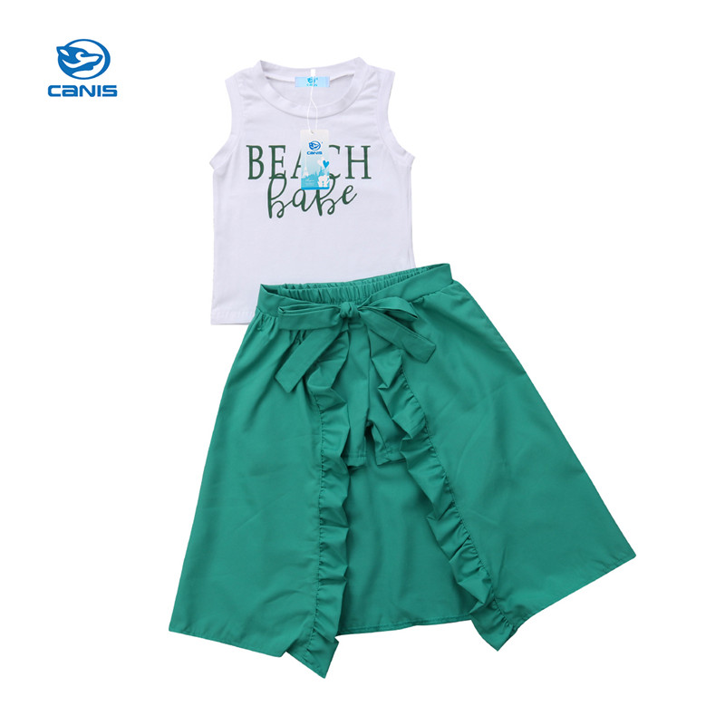 Mother & Kids Girls' Clothing Adaptable Fashion Kids Baby Girls Summer Clothes Sleeveless Letter Vest Shorts Ruffle Split Skirt Children Girls Casual Beach Clothes Us Matching In Colour