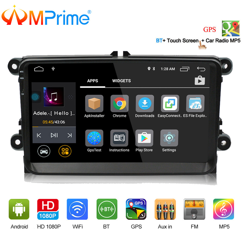AMPrime 9 Car Radio GPS Android 9 Wifi FM Mirror Link 2 Din Touch Screen Car Multimedia Player Audio Player Autoradio For VW isudar car multimedia player automotivo gps autoradio 2 din for skoda octavia fabia rapid yeti superb vw seat car dvd player