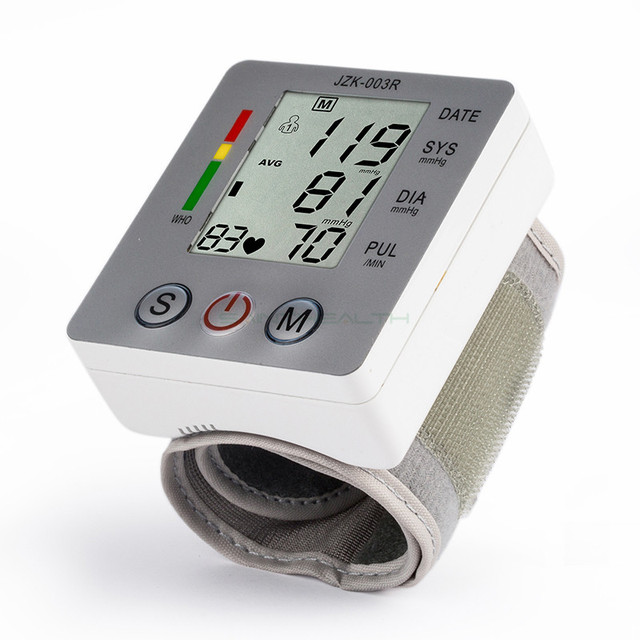 Health Care Portable Digital LCD Wrist Blood Pressure Monitor Pulse meter Tonometer + Heart Beat Meter